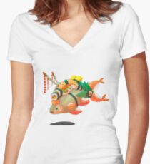 Distressed sushi  Women's Fitted V-Neck T-Shirt