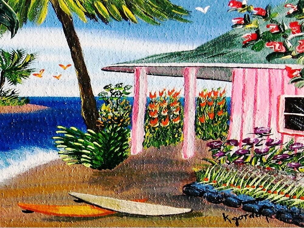 Pink Beach Cottage #7 by WhiteDove Studio kj gordon