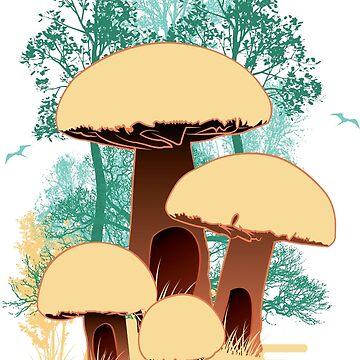 hidden mushroom houses by berwies