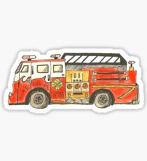 fire truck drawing stickers redbubble