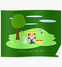 Cathy and the Cat with apples Poster
