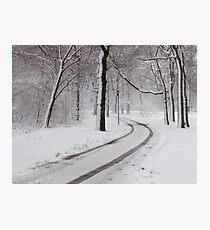 Snowy morning in Bronx, New York City  Photographic Print