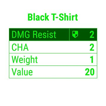 "Fallout 4 ""Black T-Shirt"" Stats by Doge21"