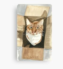 Cat In The Box - Watercolor Canvas Print