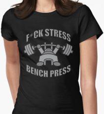 F*CK STRESS, BENCH PRESS - Kawaii Grey Womens Fitted T-Shirt