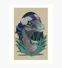 Clever Girl - Blue Art Print