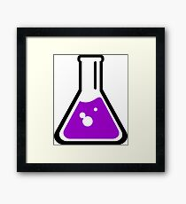 Chemical beaker cartoon Framed Print