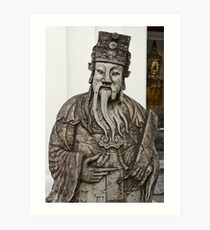 Cheeky Chinese Statue and Golden Buddha Art Print