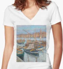 Henri Martin - The Port Of Marseilles, With Bellfry On Background, 1910 Women's Fitted V-Neck T-Shirt