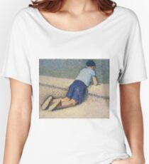 Henri Martin - The Boy Laying On The Board Of The Pool At The Garden Of Luxembourg At Paris, 1932-35 Women's Relaxed Fit T-Shirt
