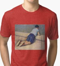 Henri Martin - The Boy Laying On The Board Of The Pool At The Garden Of Luxembourg At Paris, 1932-35 Tri-blend T-Shirt