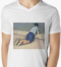 Henri Martin - The Boy Laying On The Board Of The Pool At The Garden Of Luxembourg At Paris, 1932-35 Mens V-Neck T-Shirt