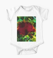 Red Flower and Green Leaves One Piece - Short Sleeve