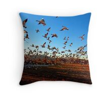Fright Flight of the Snow Geese Throw Pillow