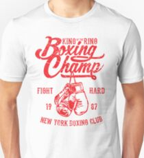 King Of The Ring Boxing Champ Retro Vintage Distressed Design T-Shirt