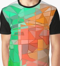 Green-Orange Geometric Abstraction Graphic T-Shirt