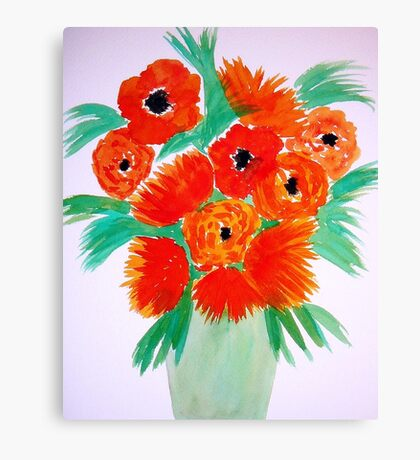 Orange Flowers in a Vase Canvas Print