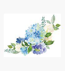 Blaue Aquarell Hortensie Fotodruck