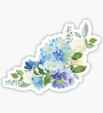 Blaue Aquarell Hortensie Sticker