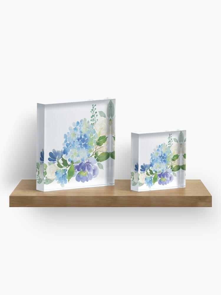 Alternate view of Blue Watercolor Hydrangea Acrylic Block