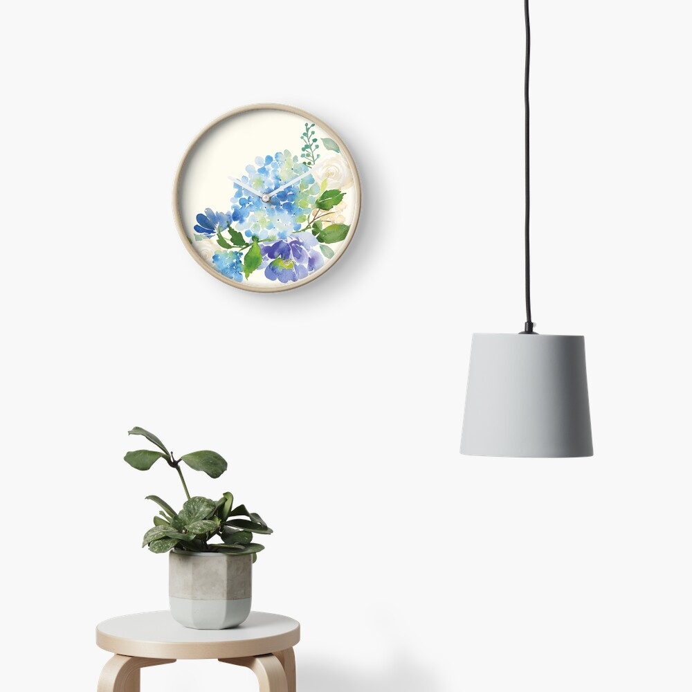 Blue Watercolor Hydrangea Clock
