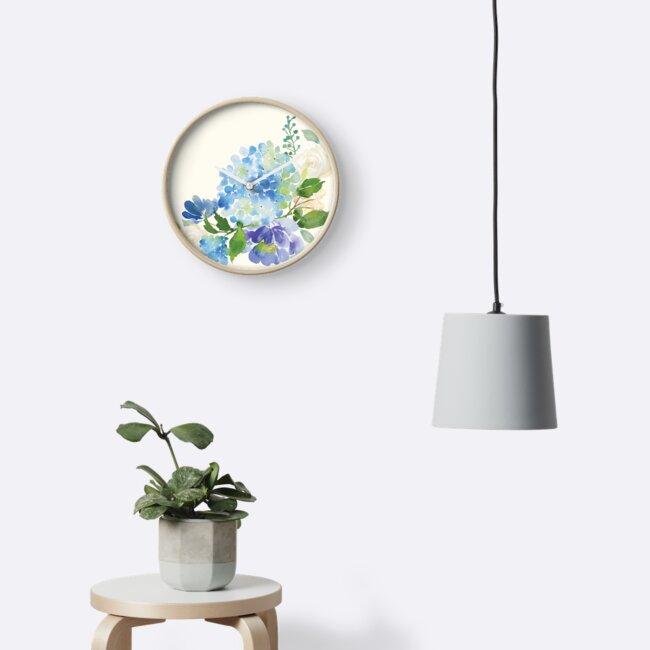 Blue Watercolor Hydrangea by junkydotcom