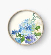 Reloj Hortensia acuarela azul