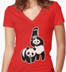 WWF Panda Steel Chair Women's Fitted V-Neck T-Shirt