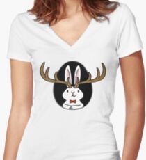 Hello Jackalope! Women's Fitted V-Neck T-Shirt