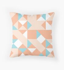 Peach-Orange, Moccasin & Powder Blue Abstract Pattern Throw Pillow