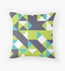 Pear, Black Coral & Bright Turquoise Abstract Pattern Throw Pillow
