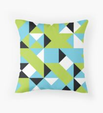 Middle Blue, Bitter Lemon & Eerie Black Abstract Pattern Throw Pillow
