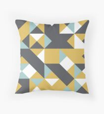 Maximum Yellow Red, Ebony & Pastel Blue Abstract Pattern Throw Pillow