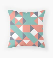 Vivid Tangerine, Pewter Blue & Slate Gray Abstract Pattern Throw Pillow