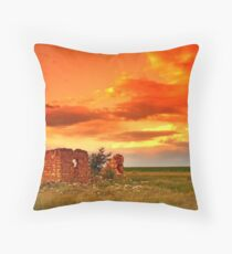 Lone house on fire. Throw Pillow