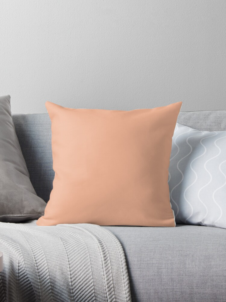 Peach Orange Solid Color Throw Pillows By Patternplaten Redbubble