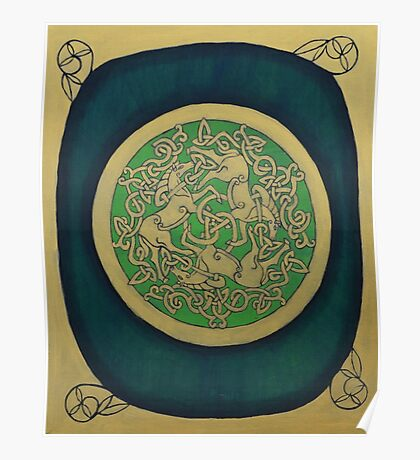 Celtic Horse Triskelle Painting  Poster