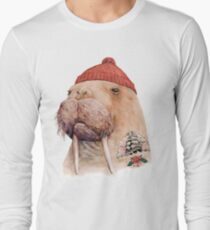 Tattooed Walrus (Red) Long Sleeve T-Shirt