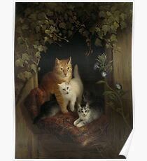 Henriette Ronner - Cat With Kittens 1844 Poster