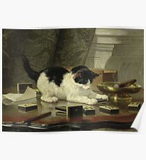 Henriette Ronner - The Cat At Play Poster