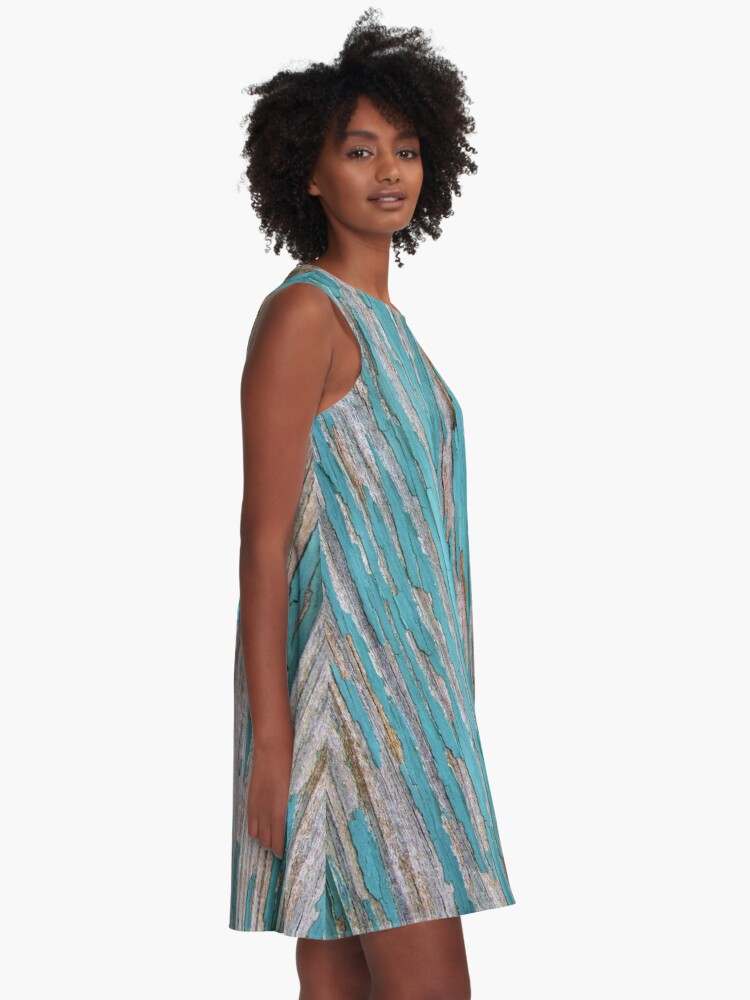 Alternate view of Shabby rustic weathered wood turquoise A-Line Dress