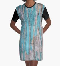 Shabby rustic weathered wood turquoise Graphic T-Shirt Dress
