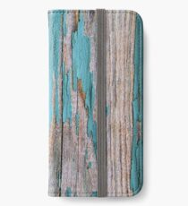 Shabby rustic weathered wood turquoise iPhone Wallet/Case/Skin