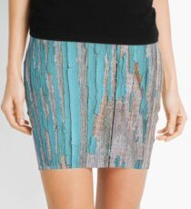 Shabby rustic weathered wood turquoise Mini Skirt