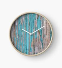 Shabby rustic weathered wood turquoise Clock