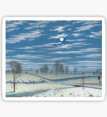 Henry Farrer - Winter Scene In Moonlight Sticker
