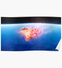 burning red fire meteorite falling to earth Poster