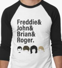 Queen, Freddie & John & Brian & Roger hair Men's Baseball ¾ T-Shirt