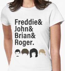 Queen, Freddie & John & Brian & Roger hair Women's Fitted T-Shirt