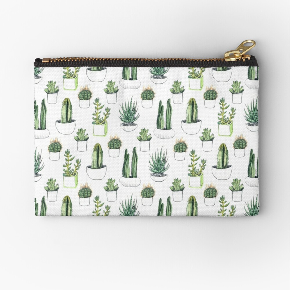 Watercolour cacti & succulents Zipper Pouch